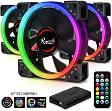 Rosewill 120mm RGB LED Case Fans (3-Pack) and 8-Port Fan Hub, Ultra Quiet Cooling with Long Life Rifle Bearings, Dual Ring True RGB Color RGBF-S12001 RGB Case Fan Hub Set