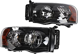 2PC Driver & Passenger Headlights Headlamps Set Replacement fit for Dodge 2002 2003 2004 2005 Ram 1500 & 2003-2005 Ram 2500 3500
