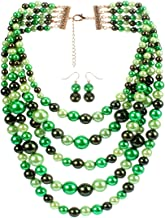 KOSMOS-LI Faux Pearl Strands Necklace for Women Colored Costume Statement Jewelry