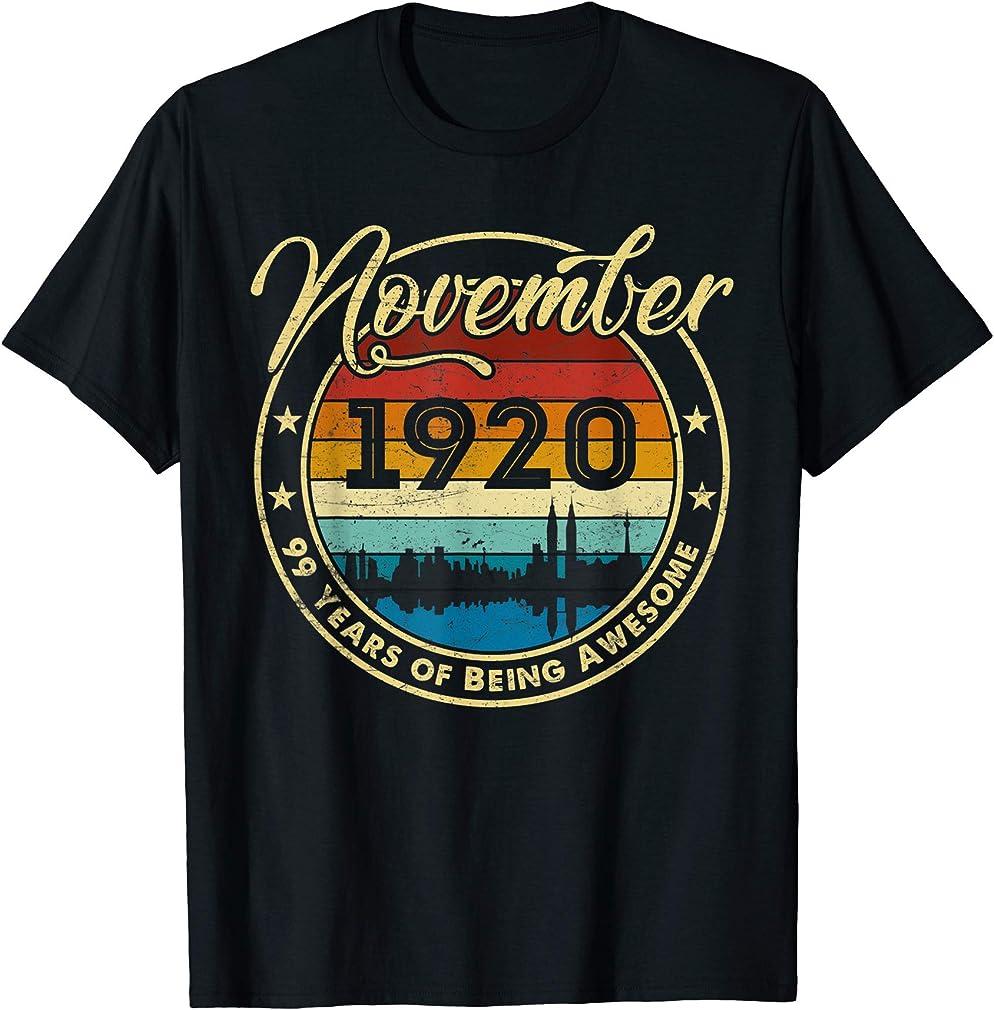Classic November 1920 99 Years Old 99th Birthday Gift T-shirt