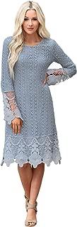 Women's Lydia Crochet Overlay Long-Sleeve Modest Dress