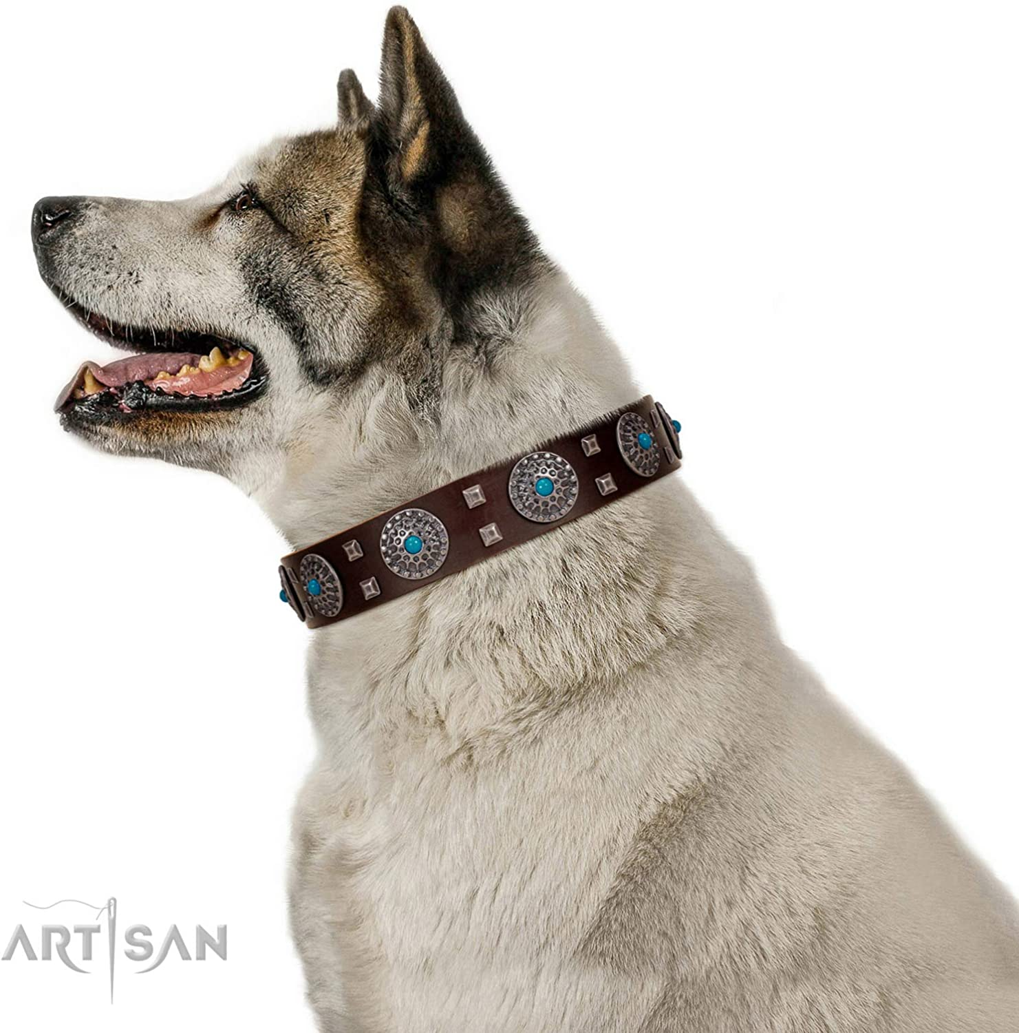 FDT Artisan 24 inch Brown Leather Dog Collar with Chrome Plated Brooches and Square Studs  Hypnotic Stones  1 1 2 inch (40 mm) Wide  Gift Packaging Included