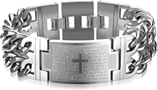 HMXT Classic Spain Lord's Prayer Cross Bracelet for Men,Length:210mm