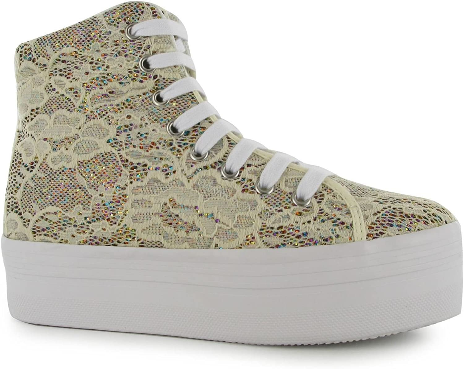 Jeffrey Campbell Play Glitzer Homg Plattform schuhe Damen Creme Trainer Turnschuhe  | Am wirtschaftlichsten