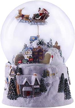 N/G Noël Boule De Neige Boule De Cristal Lumineuse Rotative Boîte À Musique avec Neige Maison Scène Père Noël Wapiti Train Dé