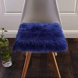Softlife Faux Fur Sheepskin Area Rug Shaggy Wool Carpet for Bedroom Living Room Home Decor (1.6ft x 1.6ft Square, Royal Blue)