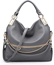 Dasein Women Classic Large Hobo Bag Rhinestone Chain Shoulder Bag Top Handle Purse