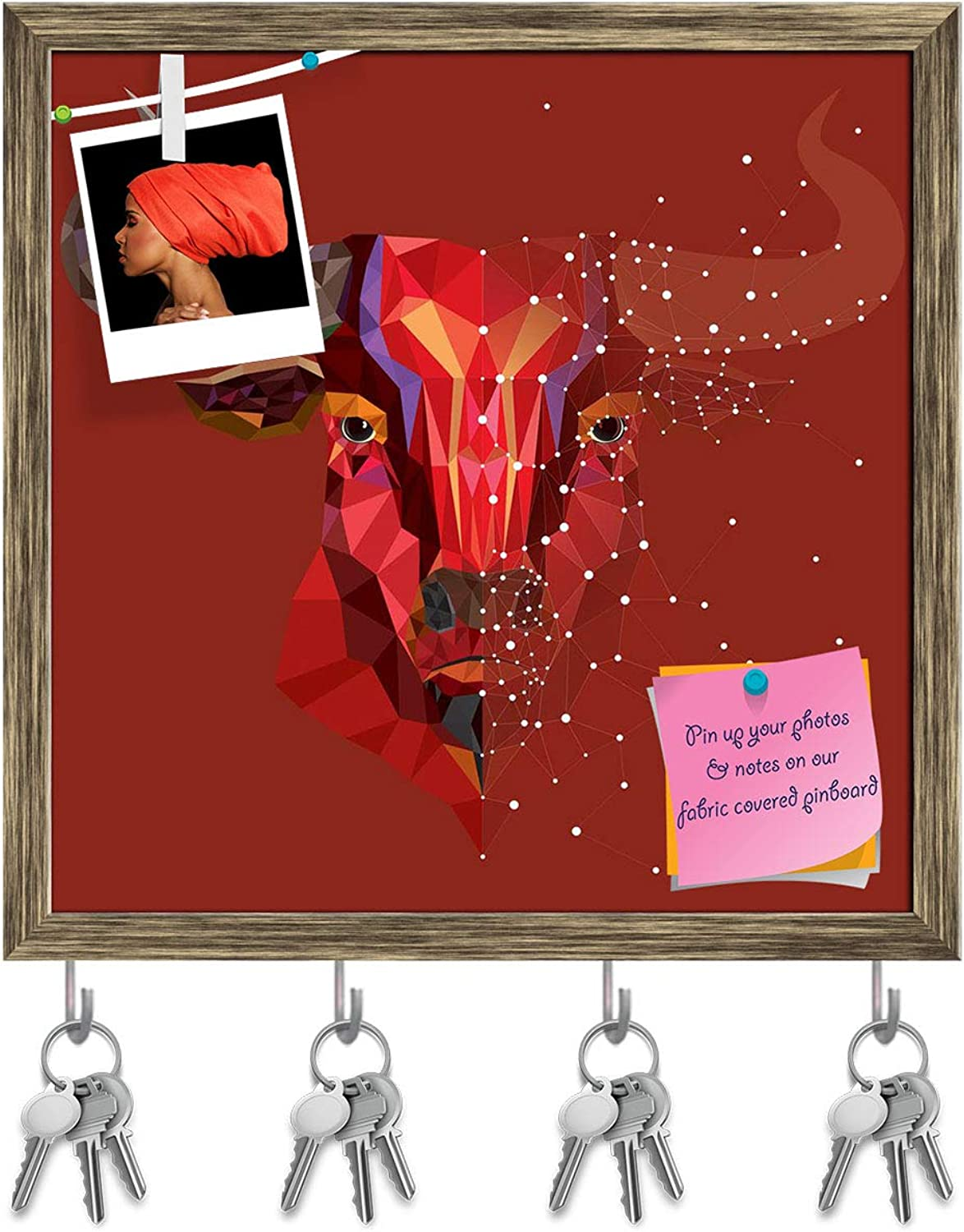 Artzfolio Red Bull Head with Geometric Pattern D3 Key Holder Hooks   Notice Pin Board   Antique golden Frame 20 X 20Inch