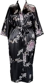 Plus Size Woman's Kimono Long Robe - Crane and Peony (US Sizes 1X/2X & 3X/4X)
