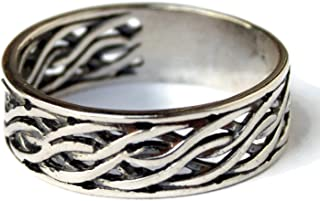 Braided Celtic Knot Eternity Wedding Band Ring 925 Sterling Silver Viking Rings for Men Women Norse Jewelry With Meaning