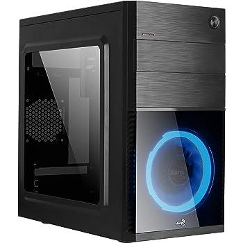 Aerocool Cs105 - Custodia per Computer Micro Atx Pc, Finestra In Acrilico, Alluminio, Ventola Anteriore A Led Blu 12 cm