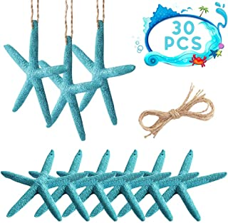 PartyTalk 30pcs Blue Resin Pencil Finger Starfish with Hemp Rope, 4-Inch Artificial Starfish Hanging Decor for Beach Wedding Christmas Ornaments, DIY Craft Projects