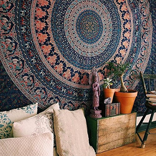Popular Handicrafts Hippie Mandala Bohemian Psychedelic Intricate Floral Design Indian Bedspread Magical Thinking Tapestry 84x90 Inches,(215x230cms) Blue by Popular Handicrafts