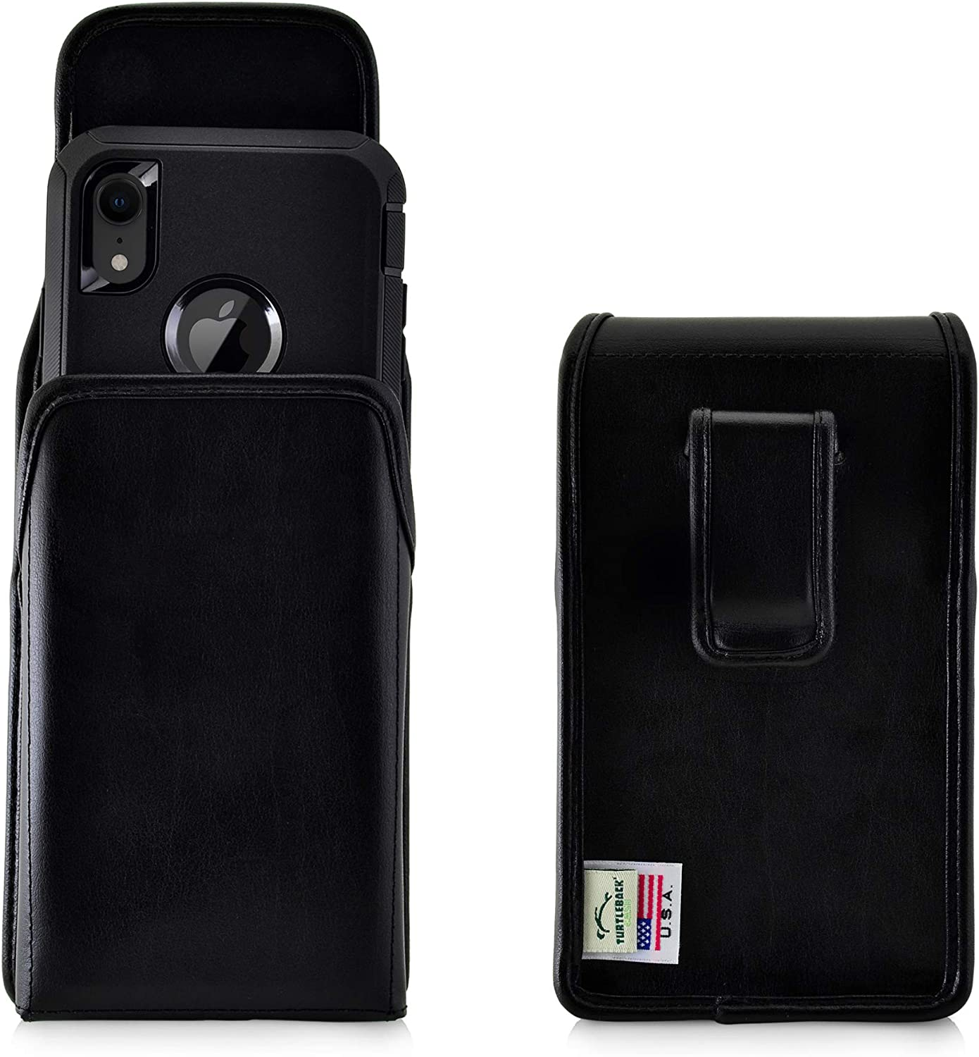 Turtleback Holster Designed for iPhone 11 (2019) & XR (2018) Fits w/OB Defender or Bulky Cases, Vertical Belt Case Black Leather Pouch with Executive Belt Clip, Made in USA