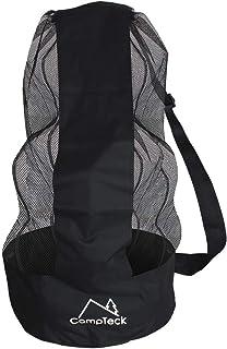 CampTeck U7081 Drawstring Soccer Ball Bag Soccer Ball Net Bag with Shoulder Strap - Black