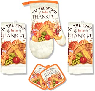 J2 Home Thanksgiving Kitchen Linen Set 2 Potholders 2 Towels 1 Over Mitt Perfect for Fall (Thankful)