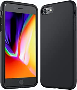 Anker iPhone 8 Silicone Case,KARAPAX iPhone 7 Silicone Case Silicone Gel Rubber Shockproof Case Cover with Soft Microfiber Cloth Cushion [Support Wireless Charging] [Slim Fit] for iPhone 8/7 -Black