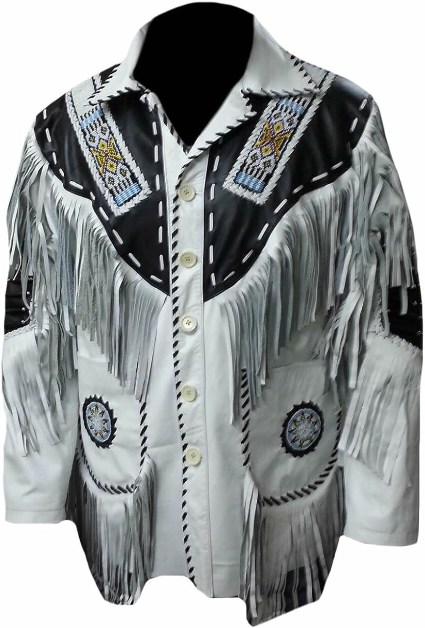 Classyak Men's Cowboy Quality Leather Jacket, Fringed & Beaded