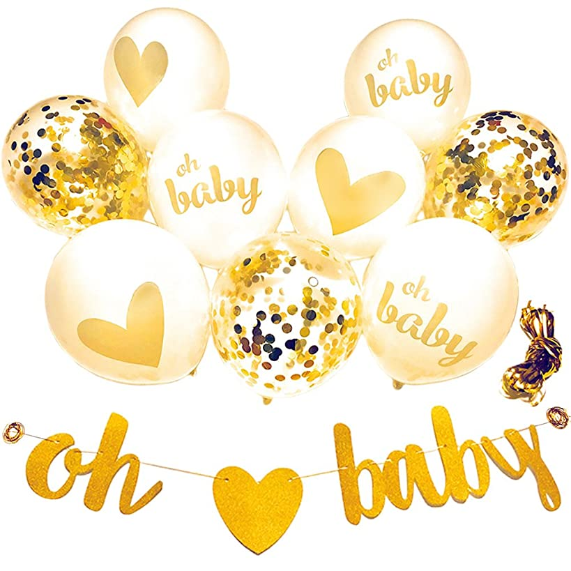 Baby Shower Decorations Neutral Decor Strung Banner (OH BABY) & 9PC Balloons w/Ribbon [Gold, Confetti, White] Kit Set | Hang on Wall | Glitter Unisex Pregnancy Announcement Gender Reveal Party