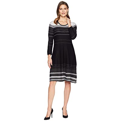 f96791cf7bb2 Nine West 3/4 Sleeve Variegated Stripe Dress (Black/Ivory) Women's Dress