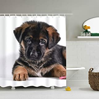 Abaysto German Shepherd Puppy Fashion Print Polyester Fabric Shower Curtain Sets with Hooks Waterproof Mildew Bathroom Decor Holiday Great Gift