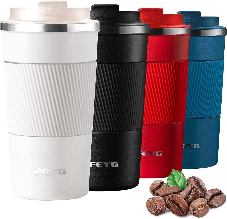 Termo cafe 510ml, FEYG Taza termo cafe para llevar de Acero Inoxidable, Termos pequeños para 100% cafe a Prueba de Fugas para Bebidas Frías y Calientes Bebidas té Café Agua