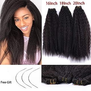 3 Bundles Afro Kinky Straight Hair Bundles 16 18 20 Inch (70g/Bundle) Dark Brown Long Yaki Straight Bundle for Women Cheap Soft Puff Kinky Straight Hair Weave Weft with 3 C Curve Needles 2#