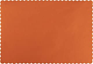 Paper Placemats - 200-Pack Orange Bulk Disposable Placemats, Colored Tabletop Mats with Wavy Scalloped Edge, Decorative Birthday Party Supplies, Baby Shower 14 x 10 Inches