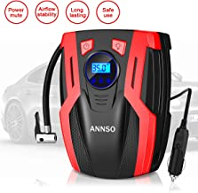 ANNSO Air Compressor Tire Inflator,Car Tire Pump Air Pump for Car Tires, 12v Digital Car Tire Inflator with Gauge LED Light,150 PSI Portable Air Compressor for Car Tires Other Inflatables