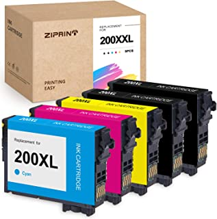 ZIPRINT Remanufactured Ink Cartridge Replacement for Epson 200XL T200XL use for Workforce WF-2520 WF-2530 WF-2540 Expression XP-200 XP-300 XP-310 XP-400 XP-410 (2Black, 1 Cyan, 1 Magenta, 1 Yellow)