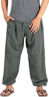 Pin Stripes Cotton Joggers Pajama Yoga Pants Elasticed Waist Drawstring
