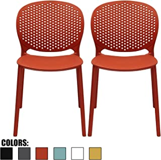 2xhome Set of 2 Dark Orange Contemporary Modern Stackable Assembled Plastic Chair Molded with Back Armless Side Matte for Dining Room Living Designer Outdoor Garden Patio Balcony Office Desk Kitchen