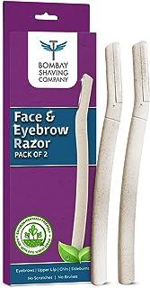 Bombay Shaving Company Face & Eyebrow Razor (Pack of 2) | Reusable & Biodegradable Face Razor For Women | Quick & Easy Fac...