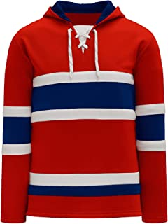 Montreal Skate Lace Athletic Pro Hockey Jersey Hoodie - Red
