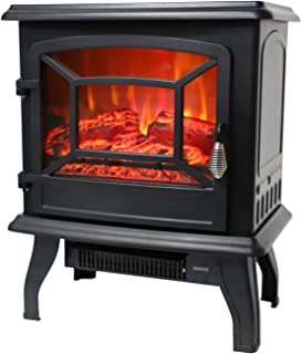 """ROVSUN 20"""" H Electric Fireplace Stove Space Heater 1400W Portable Freestanding with Thermostat, Realistic Flame Logs Vintage Design for Corners, 110V, 17"""" L x 9"""" W x 20"""" H CSA Approved"""