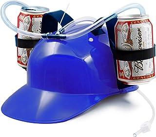 Novelty Place Guzzler Drinking Helmet - Adjustable Can Holder Cap Drinker Favor Hat - Straw for Beer Soda - Party Fun Beve...