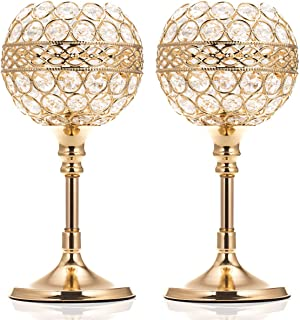 ManChDa Valentines Gift Gold Crystal Bowl Candle Holder Set of 2 for Dining Room Flange Decorative Centerpieces Modern House Decor Gifts for Anniversary Celebration