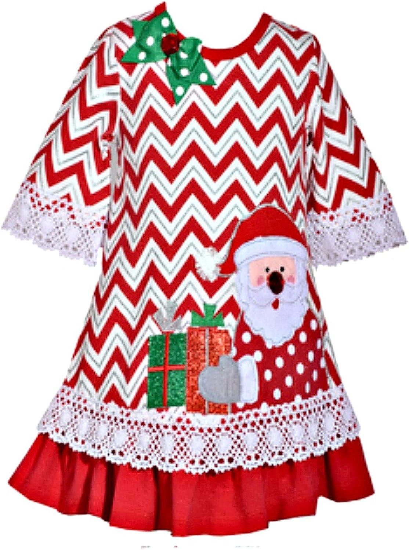 Bonnie Jean Girls Flared Sleeve Santa's Surprise Dress