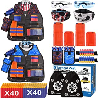 2 Sets Tactical Vest Kits Fit for Fortnite Nerf Guns N-Strike Elite Series with Kids Vests, Dart Pouches, Face Masks, Protective Glasses, Wrist Bands, Storage Bags, 4 Reload Clips, 80 Refill Darts