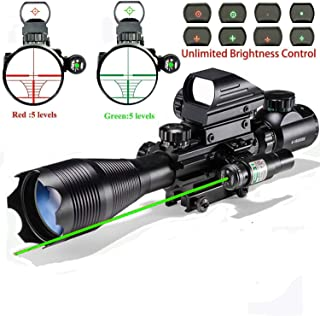 Rifle Scope Hunting Combo 4-16x50EG Dual Illuminated with Laser sight 4 Holographic Reticle Red/Green Dot for Weaver/Rail Mount