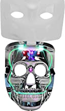 Aomeiqi USA Flag LED Light-Up Skull Mask-Unique 2 in 1 Rave Mask With 3 Colors 6 Mode for Halloween Party Costume