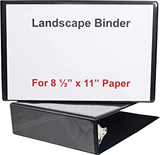 Landscape Binder Horizontally Formatted Two Inch Ring Size,13 ½-Inch Wide to Hold Standard Paper, Index Tabs and Sheet Protectors, Black Vinyl.