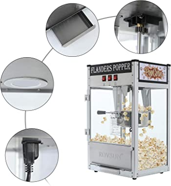 ROVSUN Popcorn Machine w/ 8 Ounce Kettle, 850W Countertop Popcorn Maker w/Single Door, Stainless Steel Popcorn Scoop, Oil Spo
