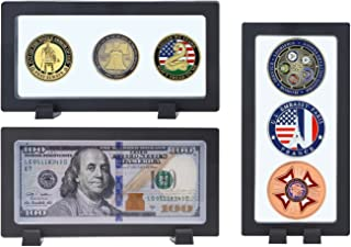 Allsum 3-Pack Challenge Coin 3D Display Stand Box (7.1 x 3.5, Black), Medallion Coin Dollar Bill Gemstone Lego Minifigures Jewelry Specimen Show Case, Double Sided Floating Display Frame