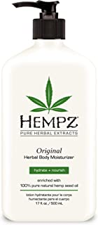 Hempz Original Natural Hemp Seed Oil Body Moisturizer with Shea Butter and Ginseng, 17 Fluid Ounce - Pure Herbal Skin Lotion for Dryness - Nourishing Vegan Body Cream in Floral and Banana