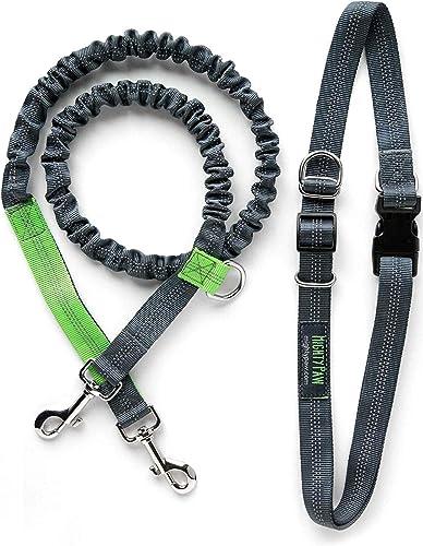 Mighty Paw Hands Free Dog Leash, Premium Running Dog Leash, Lightweight Reflective Bungee Dog Leash (Grey/Lime - 36 i...
