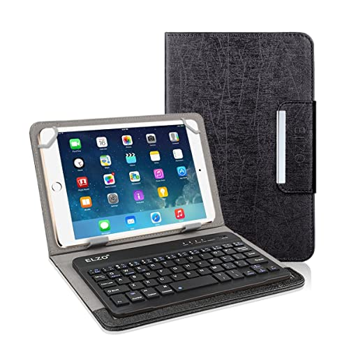 """Elzo 9"""" 10"""" 10.1"""" PU Leather Folio Case Cover with Magnetic Closure Detachable"""