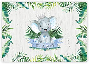 Funnytree 7x5ft Elephant Baby Shower Party Backdrop It's a Boy Rustic Wood Floor Photography Background Watercolor Summer Tropical Palm Leaves Prince Cake Table Banner Decoration Photo Booth Props