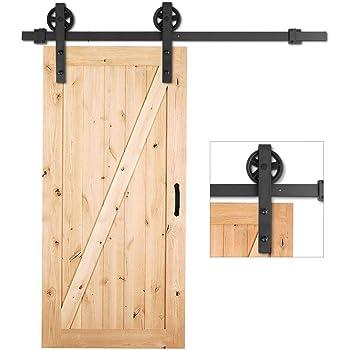 SMARTSTANDARD 5 Feet Heavy Duty Sliding Barn Hardware Kit Black Simple and Easy to Install Industrial Bigwheel Hangers Smoothly and Quietly Fit 30 Wide Door Panel