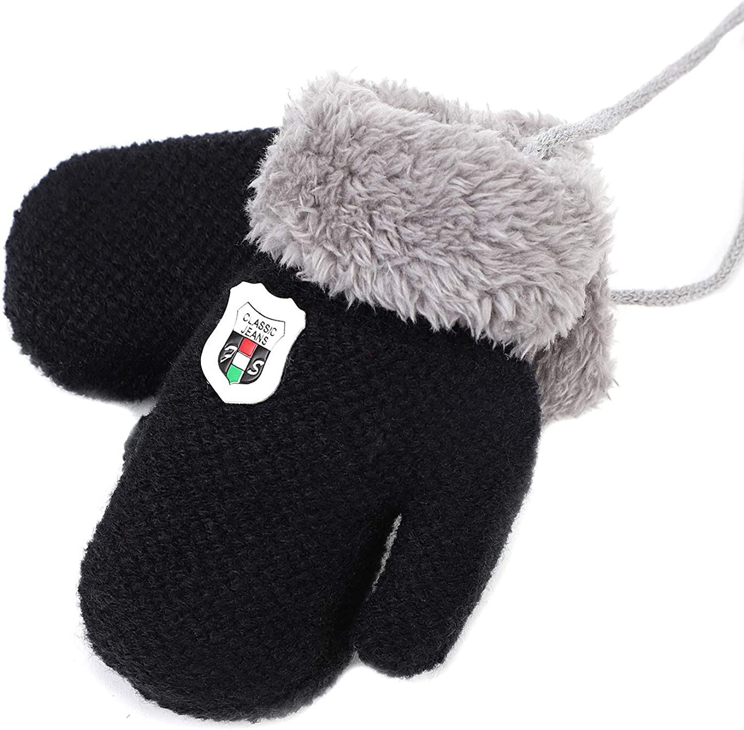Mittens for Baby Boys Girls Toddler Infant Newborn Fleece Lined Knit Thick Thermal Gloves with String Elastic Cuff Hand Warmer Hand Wear Fuzzy Fingerless Gloves Winter Warm Cold Weather Gloves 1-5 Y
